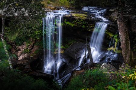 phukradueng: Pen Pob Mai waterfall at Phukradueng national park : Thailand Stock Photo