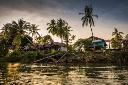 det: sunset at Mekhong river in Champasak, Laos