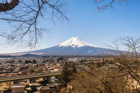 Fuji mountain in Japan. this mountain is the most famous for tourist and traveler. Stock Photo