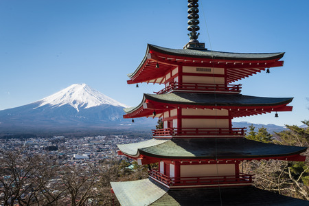 sengen: Chureito Pagoda and Fuji mountain in sunny day but very cool weather in Japan. this place is famous for traveler and tourist.