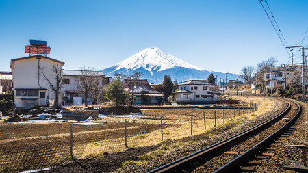 shinto: Fuji mountain in Japan. this mountain is the most famous for tourist and traveler. Stock Photo