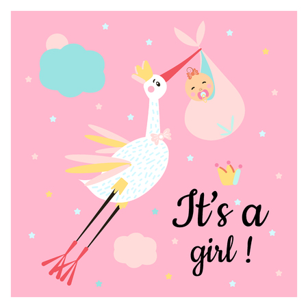 Vector Illustration. Poster for the kid's birthday. Design template for baby shower. Cute funny stork and girl with different childish elements.