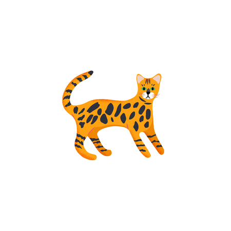 Vector illustration. Cute character cartoon style of cat. Icon of bengal breed for different design.