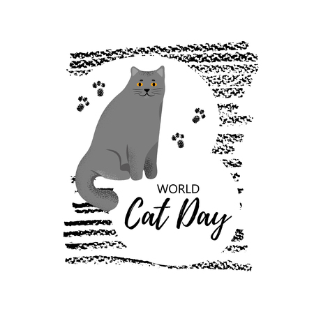 Vector illustration. Greeting card with text  World Cat Day. Cute character with lettering. Icon of british shorthair breed. Stock Illustratie