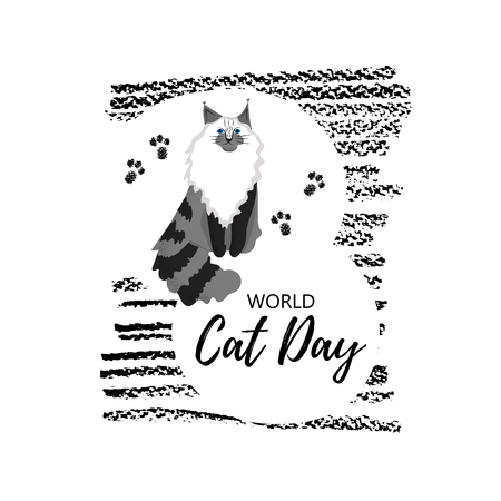 Vector illustration. Greeting card with text  World Cat Day. Cute character with lettering. Icon of maine сoon breed. Illustration