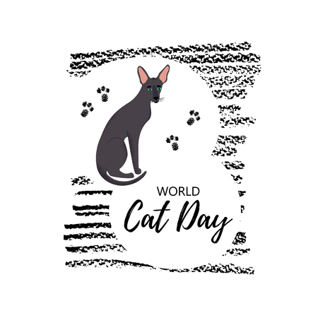 Vector illustration. Greeting card with text  World Cat Day. Cute character with lettering. Icon of oriental shorthair breed.