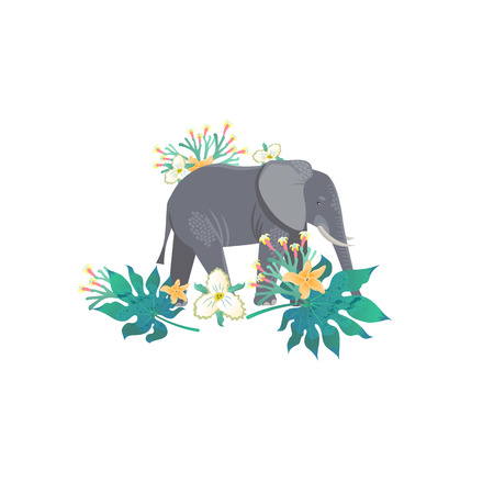 Cartoon style icon of elephant with tropic leaves and flowers. A cute character for different design. Vector illustration.