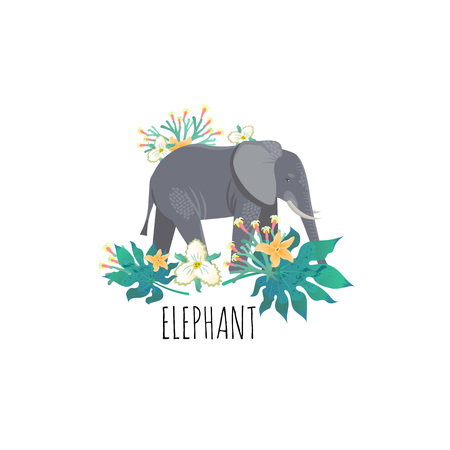 Cartoon style icon of elephant with tropic leaves and flowers. A cute character for different design. Vector illustration. Standard-Bild - 123474145