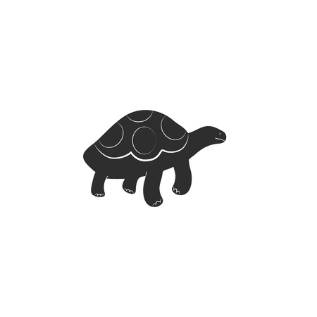 Flat style icon of galapagos tortoise. Cute character for different design. Simple silhouette pictogram. Vector illustration.
