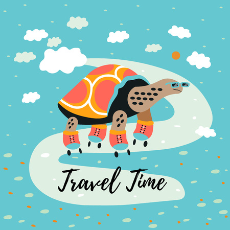 Cartoon style icon of turtle riding on roller skates. A funny character in landscape. Design template card. Vector illustration.