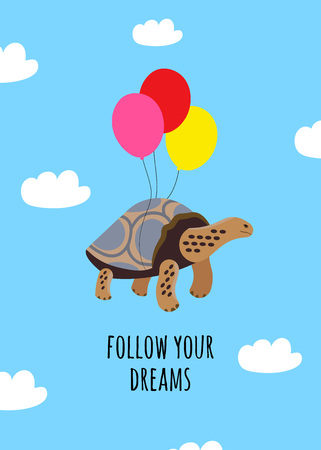 Cartoon style icon of tortoise flies with balloons. A cute character with clouds around. Design template card. Vector illustration.
