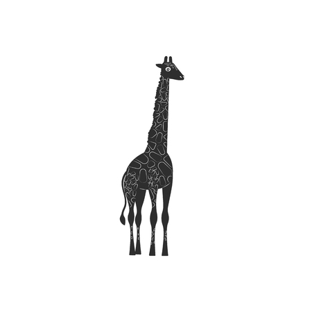 Flat style icon of giraffe. Simple silhouette pictogram. Vector illustration.