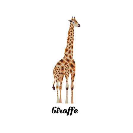 Cartoon style icon of giraffe. Cute character with text for different design. Vector illustration.