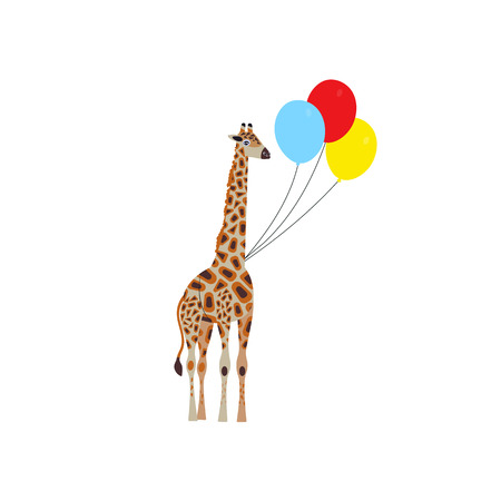 Cartoon style icon of giraffe flies with balloons. A cute character with clouds around. Design template card. Vector illustration.