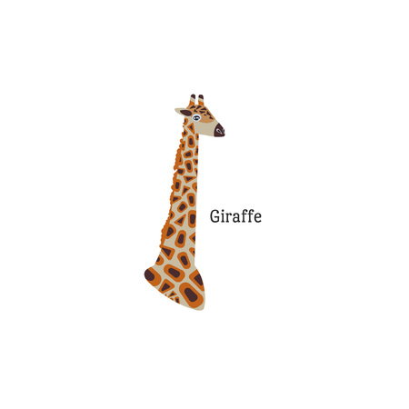 Head portrait of giraffe with text for different design and tattoo. Cartoon style icon of the cute animal face. Vector illustration.