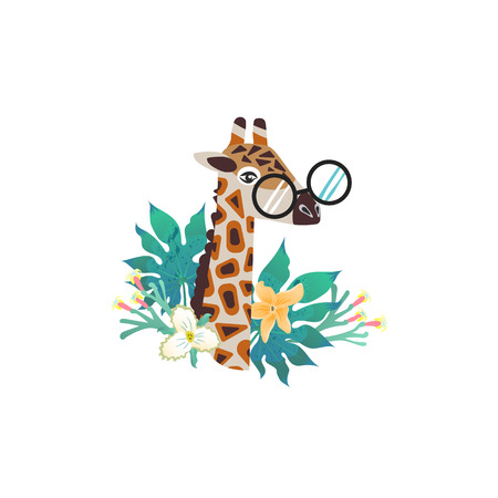 Cartoon style icon of giraffe. Cute character for different design. Vector illustration. Imagens - 123474270