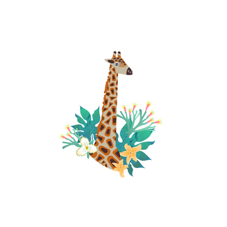 Head portrait of giraffe for different design and tattoo. Cartoon style icon of the cute animal face with tropic leaves, flowers. Vector illustration.