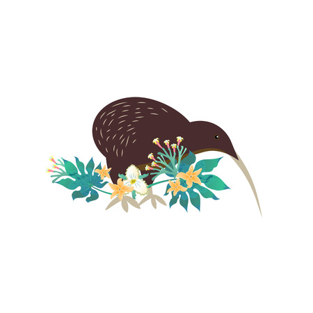 Cartoon style icon of kiwi and tropical flowers, leaves. Cute character for different design. Vector illustration.