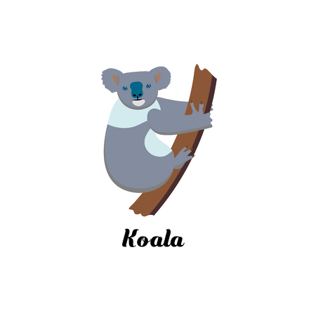 Cartoon style icon of koala. Cute character with text for different design. Vector illustration. Stock Illustratie