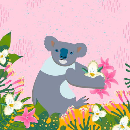Cartoon style icon of koala with tropic leaves and flowers. A cute character for different design. Vector illustration.