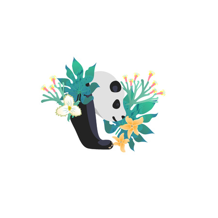 Head portrait of panda for different design and tattoo. Cartoon style icon of the cute animal face with tropical flowers, leaves. Vector illustration. Illustration