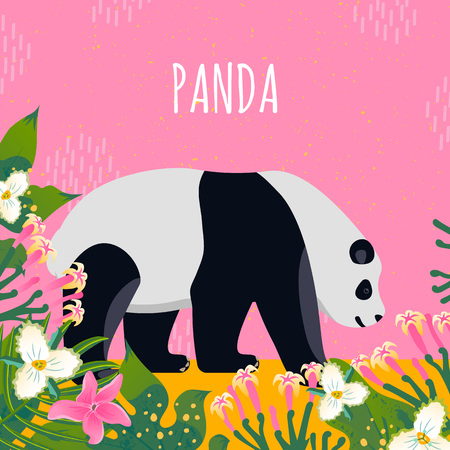Cute panda with text for different design. Cartoon style icon of the animal with tropical flowers, leaves. Vector illustration.