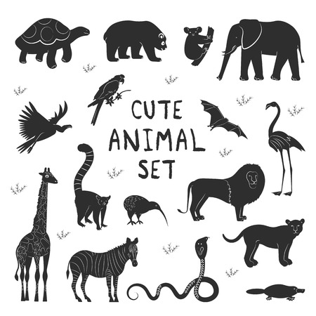 Set icons flat style of various animals. Characters for different design with text. Simple silhouette pictograms. Vector illustration.