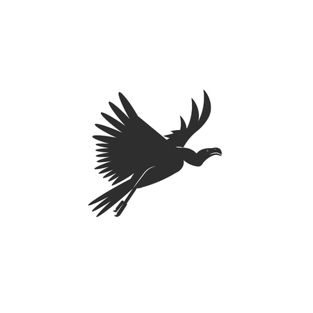 Flat style icon of vulture. Cute character for different design. Simple silhouette pictogram. Vector illustration.