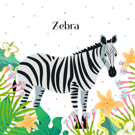 Cartoon style icon of zebra with tropic leaves and flowers. A cute character with text for different design. Vector illustration.