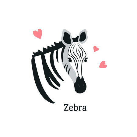 Cartoon style icon of zebra with hearts around. ?ute portrait of the character with text. Vector illustration.