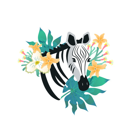 Cartoon style icon of zebra with tropical leaves and flowers. ?ute portrait of the character for a different design. Vector illustration. 向量圖像