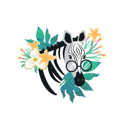 Cartoon style icon of cute zebra with glasses and tropical flowers, leaves. Funny portrait of the character for a different design. Vector illustration.