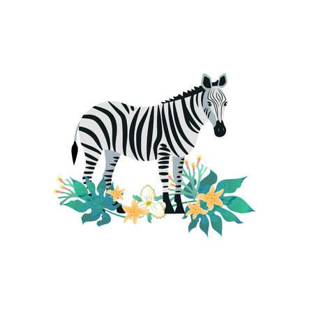 Cartoon style icon of zebra with tropic leaves. Cute character for different design. Vector illustration.
