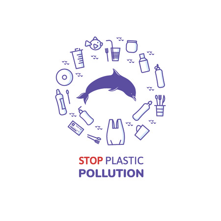 bottlenose dolphin and plastic icon illustration. Illustration