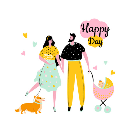 Cartoon style icons of a happy man and woman with a girl in a carriage and corgi. Cute characters with a dog for baby shower design card.  Ilustração