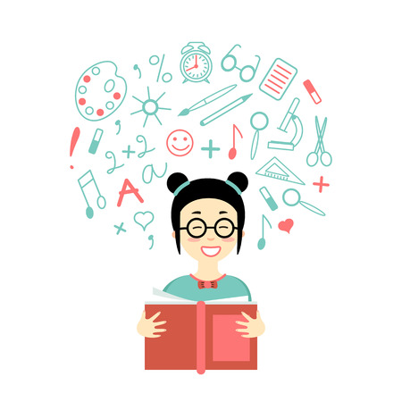 Happy asian girl  is reading a book. Flat icon of cute character. Line style elements for study around. Back to school banner. Education Concept.