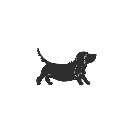 Flat style icon of basset hound. Vector. Stock Vector - 123476382