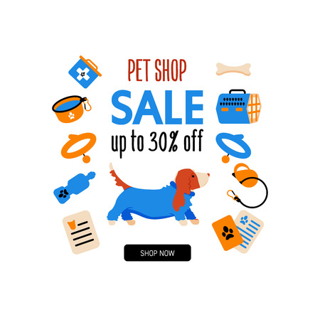 Basset hound. Pet shop. Sale up to 30% off. Vector.