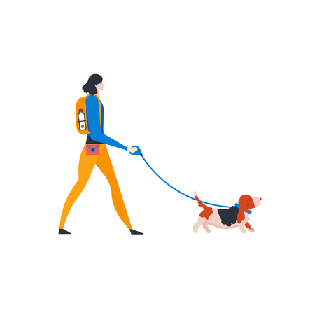 Icons of basset hound and personal dog-walker. Vector illustration.