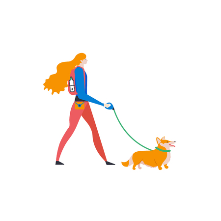 Welsh Corgi Cardigan and personal dog-walker. Cute girl with pet. Vector.