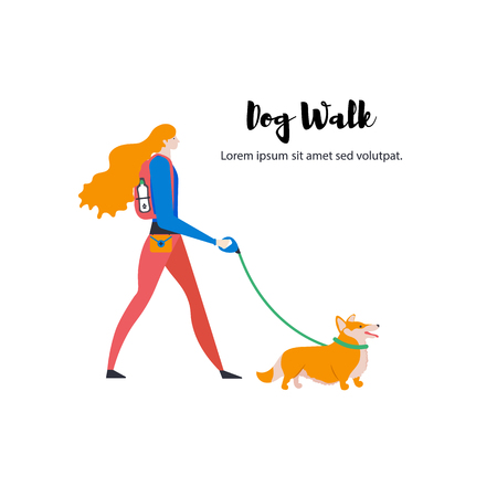 Welsh Corgi Cardigan, personal dog-walker, text. Vector.