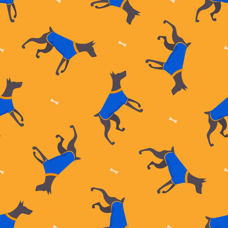 Seamless pattern with icons of dobermann. Simple background. Vector. Illustration