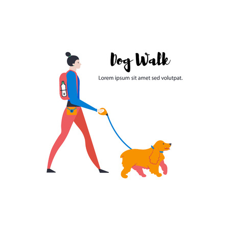 Icons of english cocker spaniel and dog-walker. Cute girl with pet. Vector. Illustration