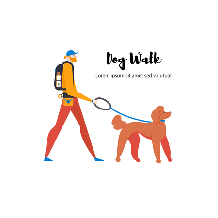 Ð¡artoon style icons of royal poodle and personal dog-walker. Guy with pet outdoors. Vector illustration. Vettoriali