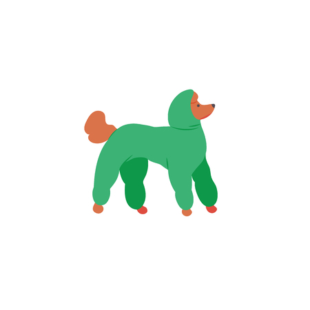 Icon of royal poodle. Cute family dog in overalls. Vector.