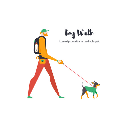 Icons of russian toy terrier and dog-walker. A guy with a pet.