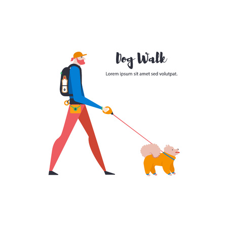 Icons of pomeranian spitz and dog-walker. Guy with a pet. Vector.