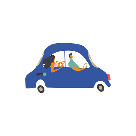 Icon of retro transport, cute characters. Vector.