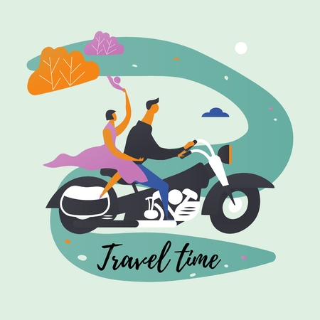 Retro transport and characters. Motorcycle and couple. Illustration