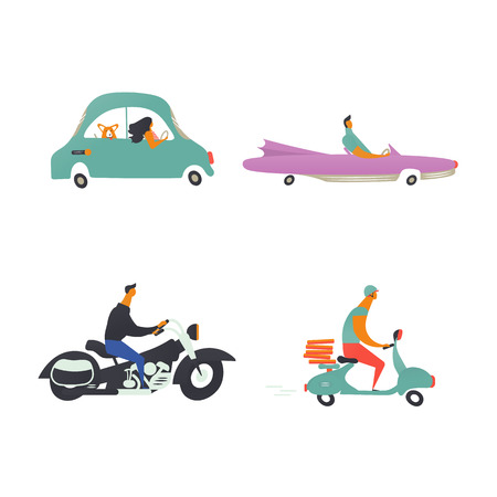 Set of retro transport. Cartoon style icons of car, motorcycle, cabriolet, scooter. Vector illustration. Ilustracja